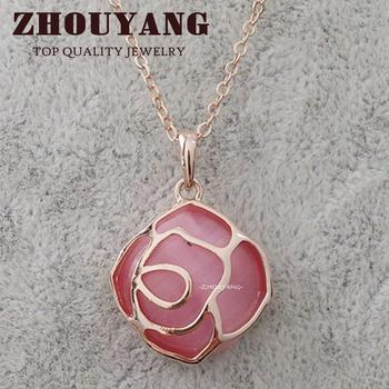 ZHOUYANG Top Quality ZYN283 Rose Rose Gold Color Fashion Pendant Jewelry Made with Austria Crystal Wholesale