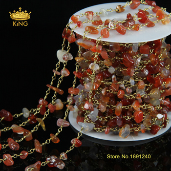 5Meter Wire Wrapped Beaded Chains Rosary Chain Size 5~8mm Carnelian Ag ate Chips Beaded Druzy Chains for Women JD044